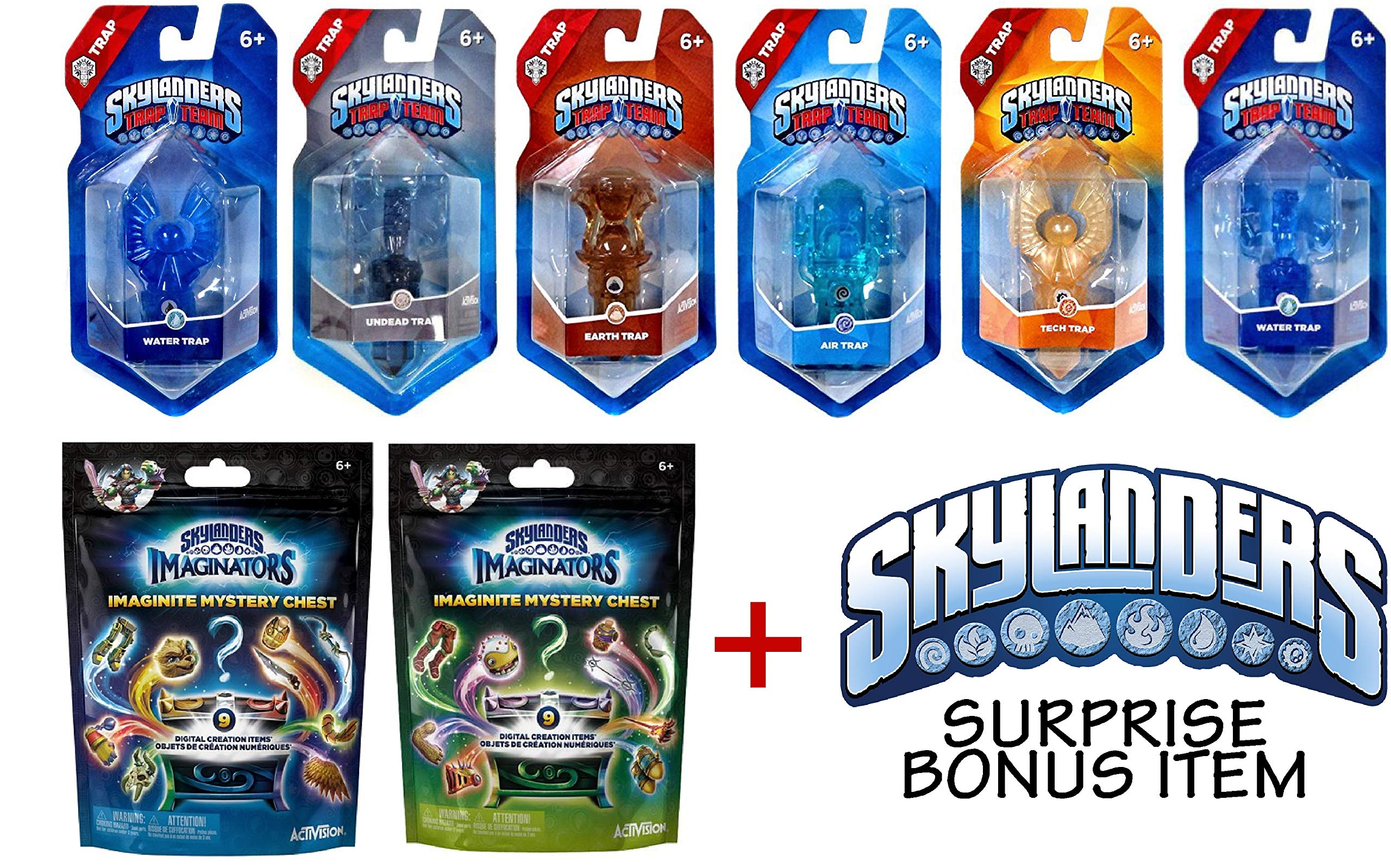 TRAP TEAM Skylanders Bundle Set of 6 Crystals Rare, 2 IMAGINATORS CHESTS Packs & Bonus Item - WiiU PS4 Xbox 360 ONE