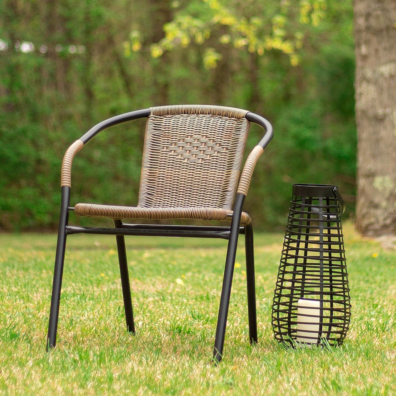Flash Furniture 4 Pk. Medium Brown Rattan Indoor-Outdoor Restaurant Stack Chair: Kitchen & Dining