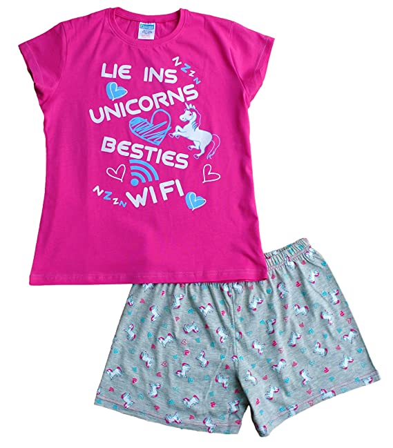 ThePyjamaFactory - Pijama corto para niñas, diseño con texto en inglés «Lie Ins Unicorns Besties Wifi», de 9 a 16 años, color rosa: Amazon.es: Ropa y ...