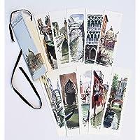 10 segnalibri con vedute di Venezia in acquarello, segnalibri artigianali creati a mano dall'artista Nicola Tenderini. Made in Italy (Venezia)