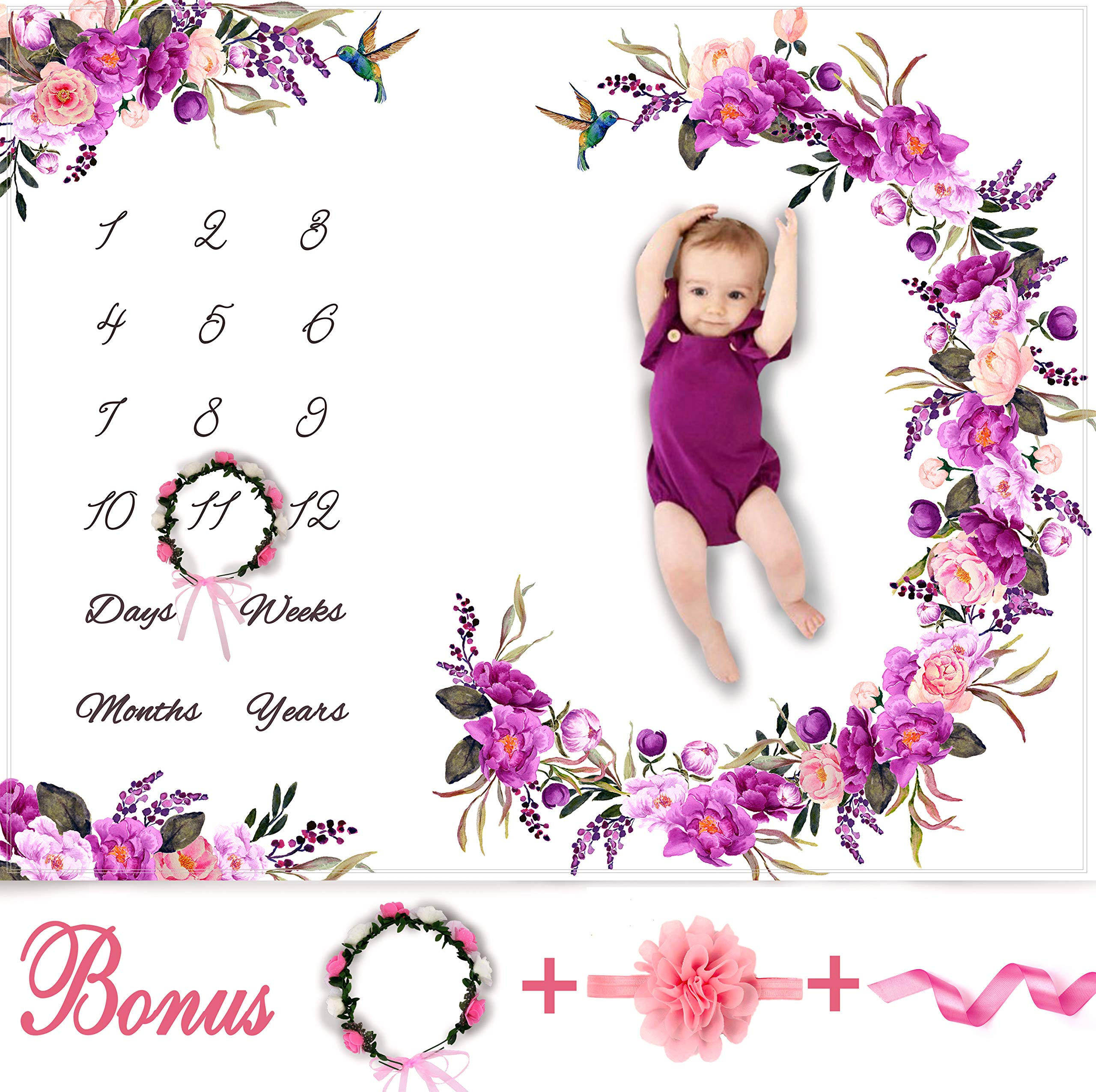 Baby Monthly Milestone Blanket Girl - Floral Plush Fleece Baby Photography Backdrop Memory Blanket for Newborns Large - New Moms Baby Shower Gift Set - 100% Wrinkle-Free - Bonus Wreath + Headband by Bliss n' Baby