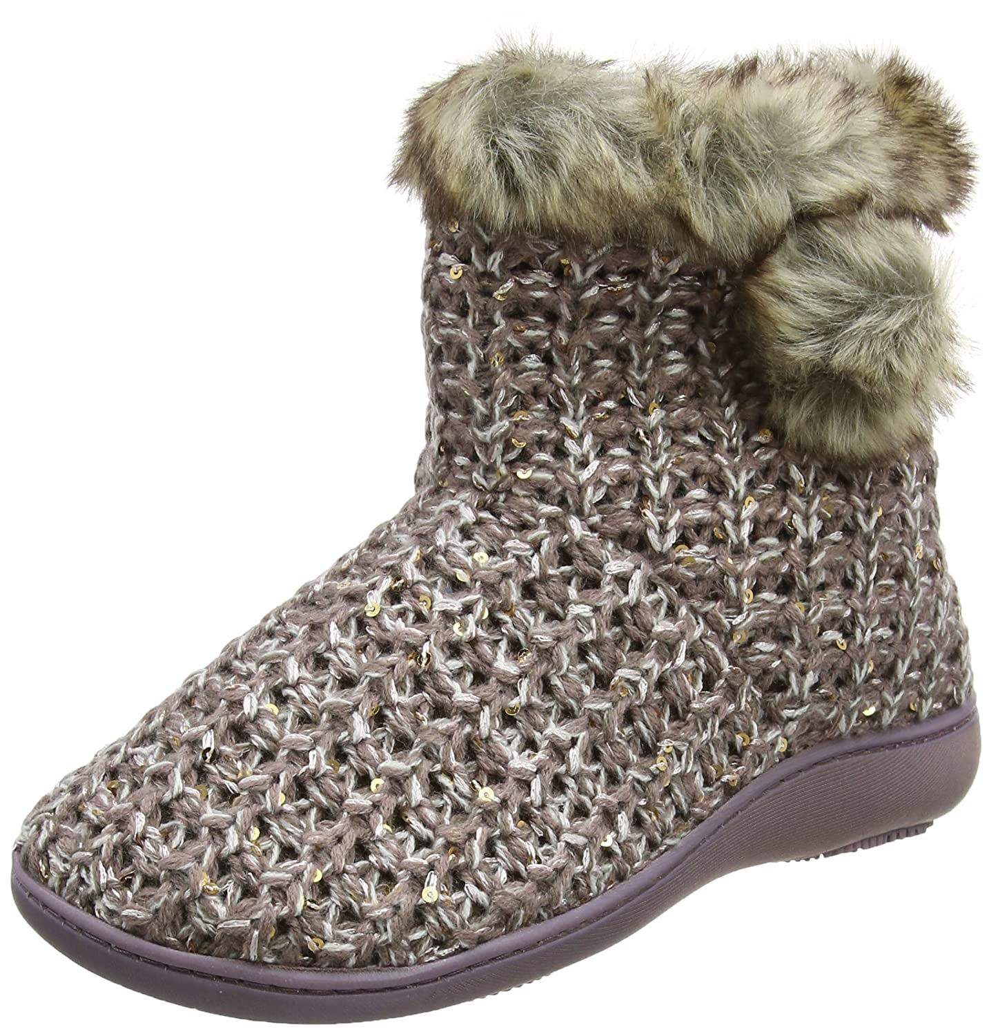 Isotoner B00C5NGSK6 Sparkle Knit Boot Chaussons Slippers, Boot Chaussons Montants Femme Rose (Pink) 161a794 - conorscully.space