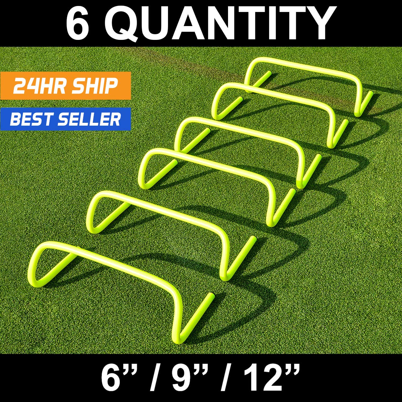 12 inch Agility Hurdles [6 Pack] - Hockey/Football/Soccer/Multi Sport Speed Training Hurdles [Net World Sports] football basketball baseball handball
