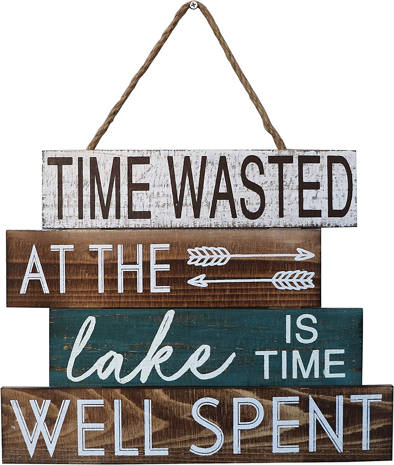 "Barnyard Designs Time Wasted at The Lake is Time Well Spent Wooden Sign Rustic Vintage Primitive Lake House Home Decor Sign 15"" x 12"""