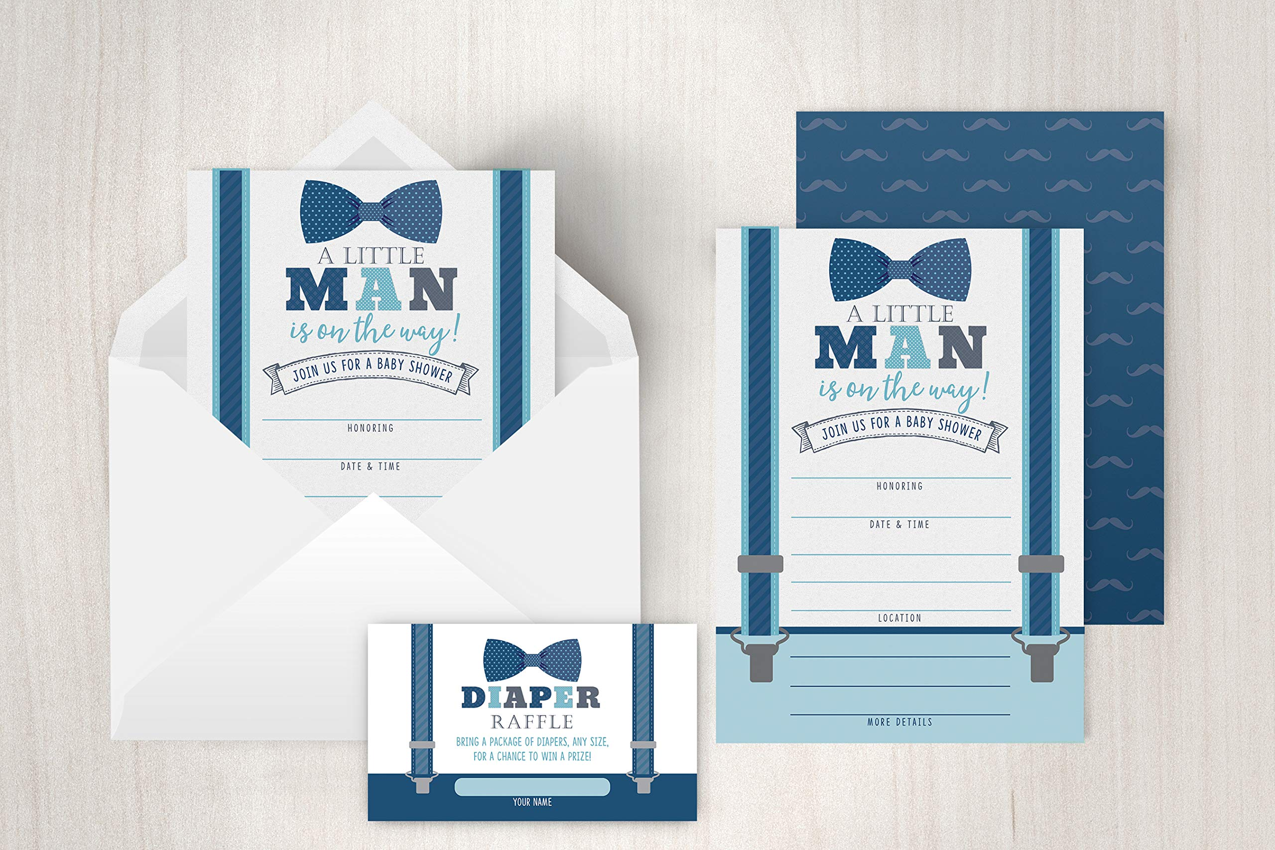 Little Man Baby Shower Invitations, Boy Baby Shower Invites with Diaper Raffles Cards, Bow Tie and Mustaches, Sprinkle, 20 Invites Including Envelopes by Your Main Event (Image #2)