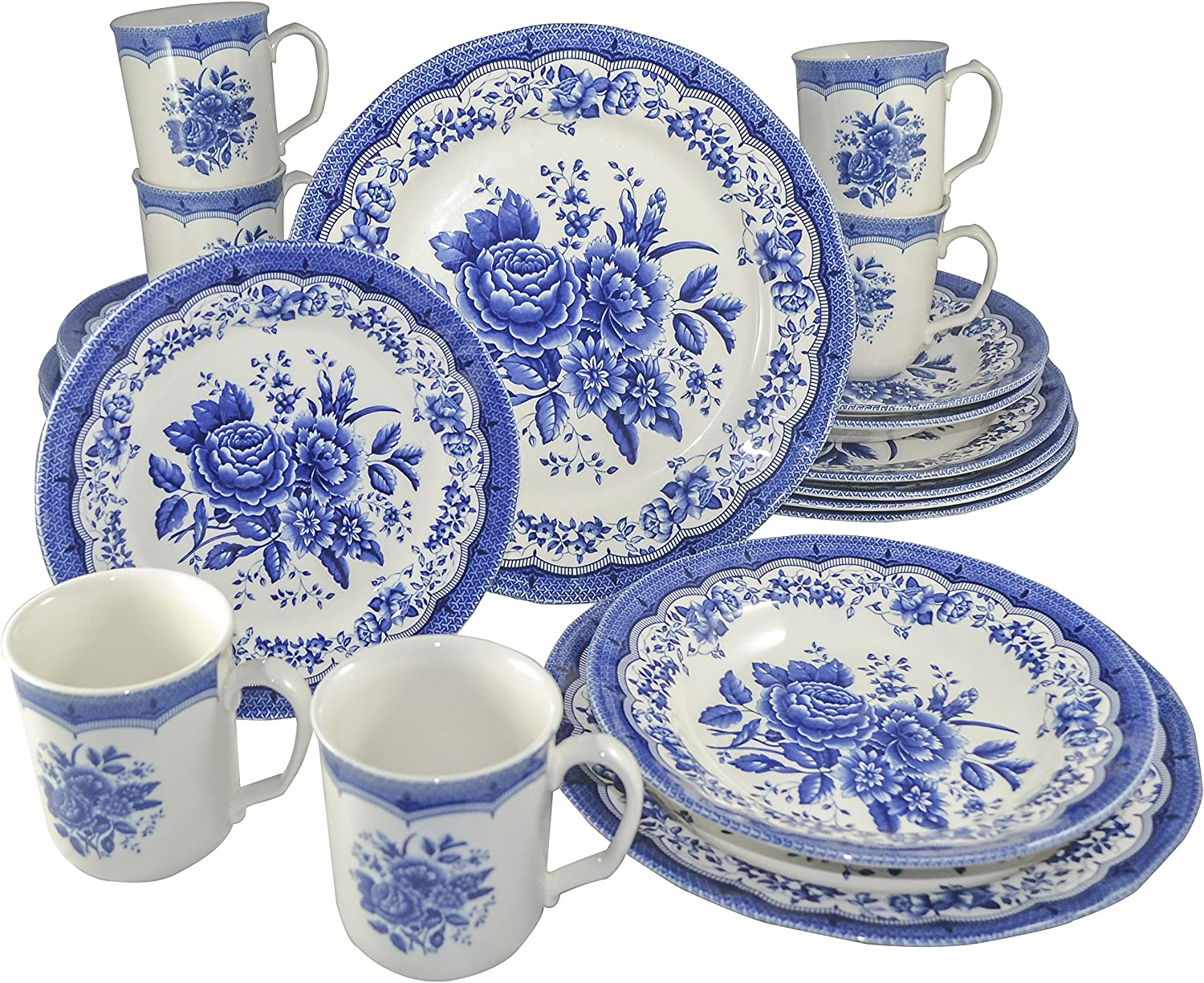 Amazon Com Tudor Royal Collection 24 Piece Premium Quality Porcelain Dinnerware Set Service For 6 Victoria Blue See 10 Designs Inside Dinnerware Sets