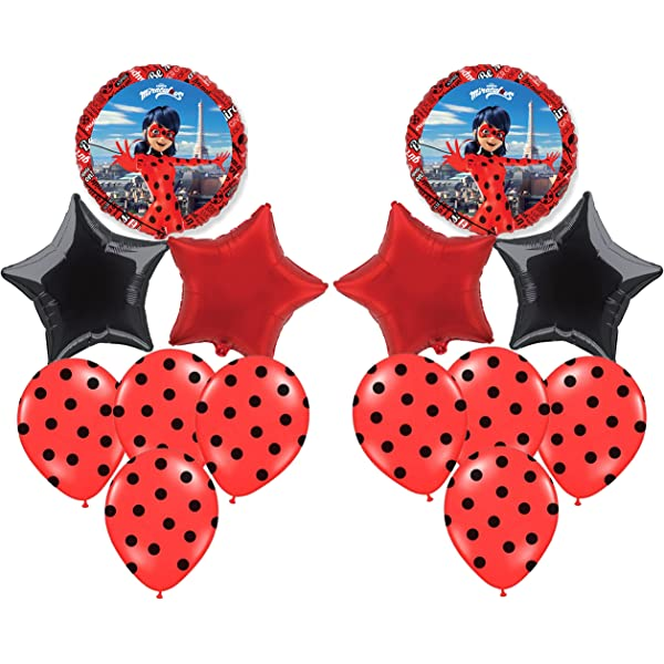 Pack 14 Globos Ladybug Especial para Fiestas DE CUMPLEAÑOS ...