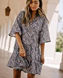 The Drop Women's Gray Night Print Loose Fit Bell Sleeve Mini Dress By @spreadfashion