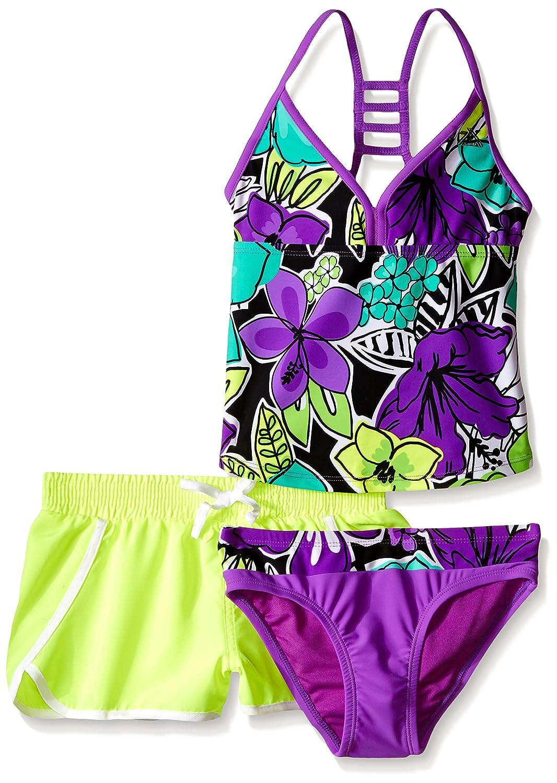 ZeroXposur Girls' Hula Haku Tankini Two Piece Swimsuit With Short Orchid 14 K38306