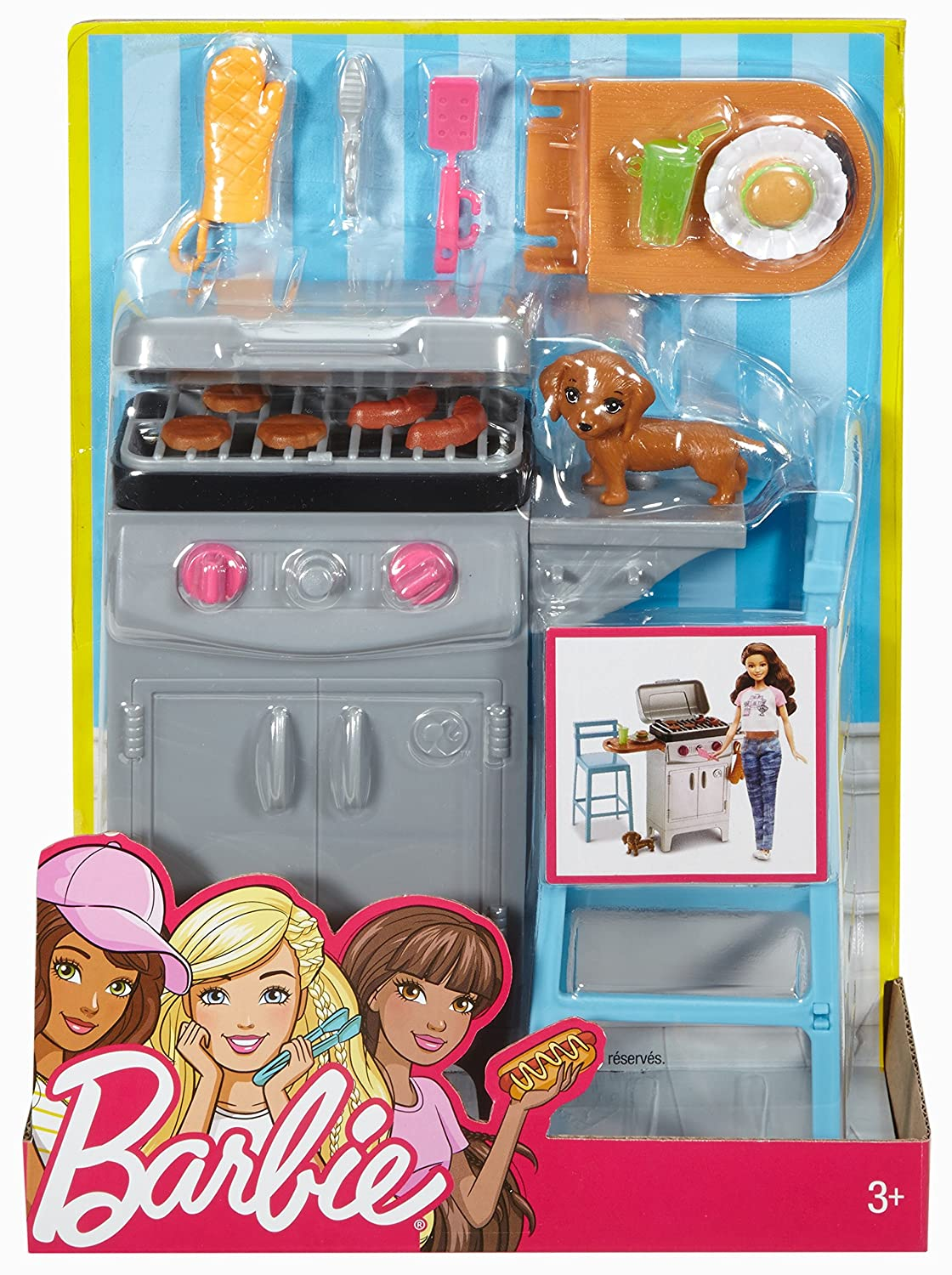 Amazon.com: Barbie BBQ Grill Furniture & Accessory Set: Toys & Games