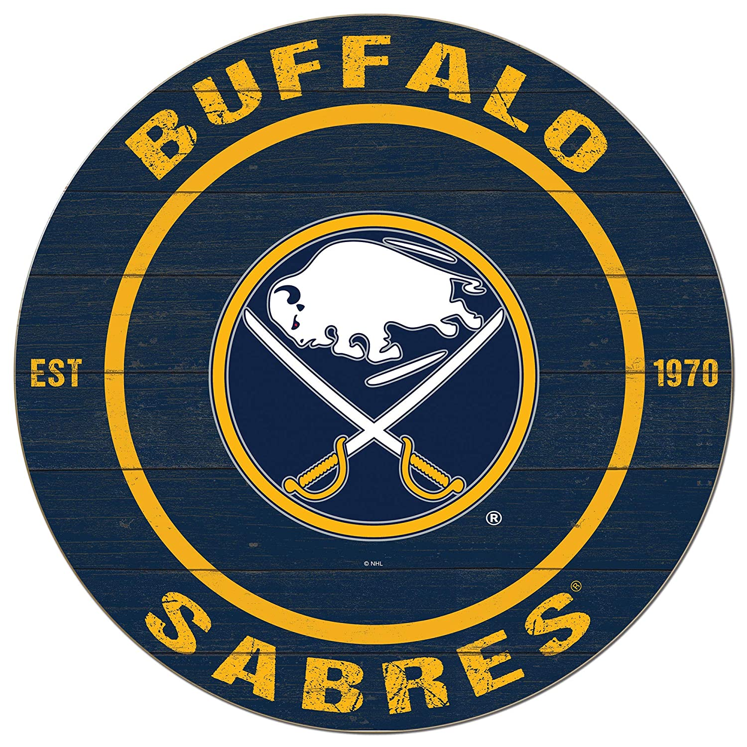 KH Sports Fan 20x20 Weathered Colored Circle - Classic Buffalo Sabres