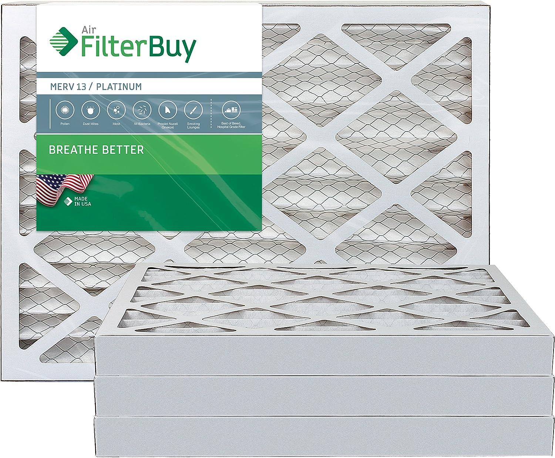 FilterBuy 16x20x2 MERV 13 Pleated AC Furnace Air Filter, (Pack of 4 Filters), 16x20x2 – Platinum