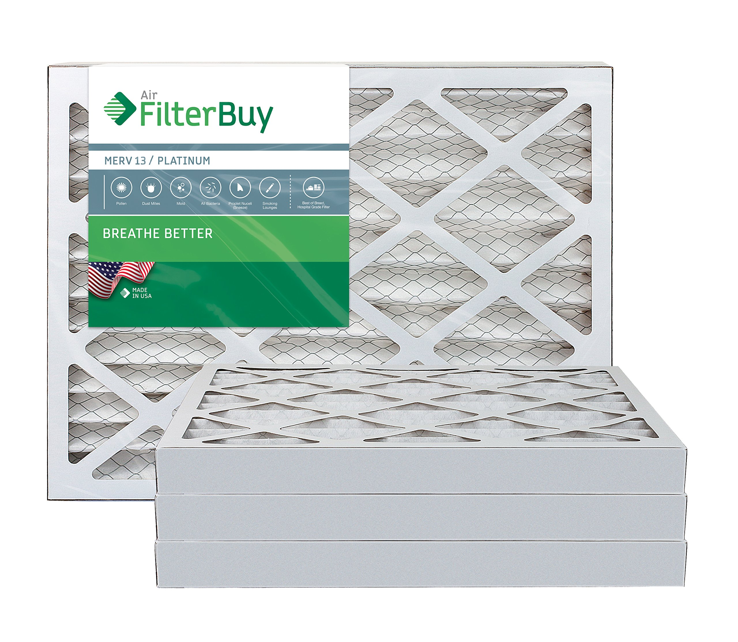 AFB Platinum MERV 13 30x36x2 Pleated AC Furnace Air Filter. Pack of 4 Filters. 100% produced in the USA.