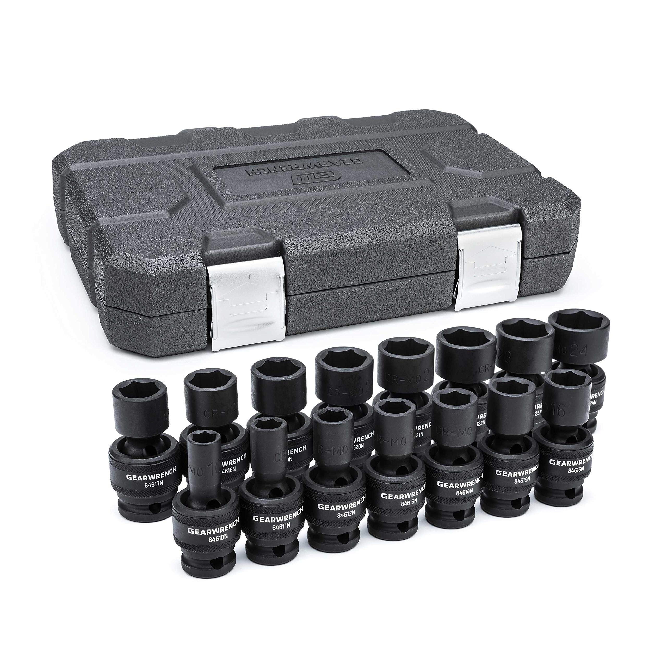 GearWrench 84939N 1/2-Inch 6 Point Metric Universal Impact Socket Set (15 Piece)