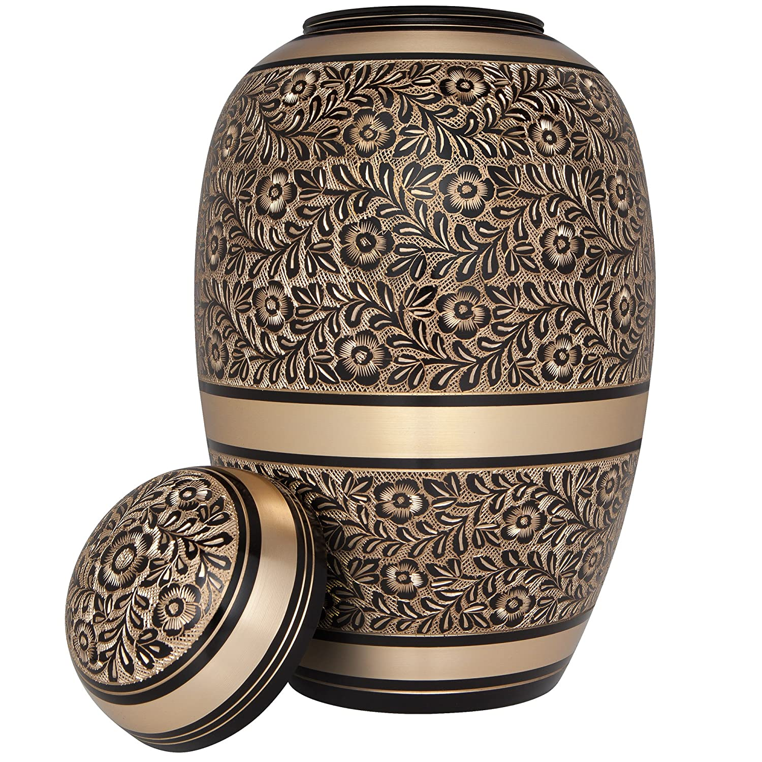 Hand Made in Brass Liliane Memorials Black Gold Funeral Urn Cremation Urn for Human Ashes Rings Model Large Size fits Remains of Adults up to 200 lbs Suitable for Cemetery Burial or Niche