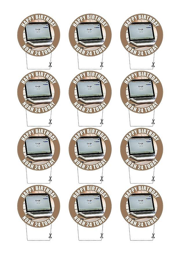 Ordenador portátil Stand Up Cupcake Toppers, 12 x 5 cm, personalizable, Premium Oblea, comestible: Amazon.es: Hogar