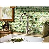 【 Dream Sticker 】モザイクタイルシール キッチン 洗面所 トイレの模様替えに最適のDIY 壁紙デコレーション ALT-13 グリーン N-Green 【 自作アートインテリア / ウォールステッカー 】貼り方説明書付属