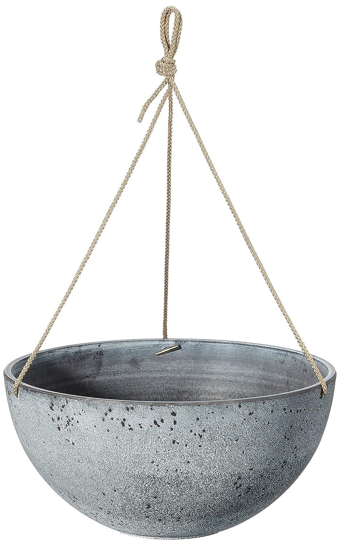 TS Blumenampel, Cera-Mix Pflanzgefäß Nova, frostbeständig und leichtgewichtig, blackwash, 25x25x12 cm, 136502