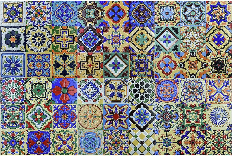 "Art3d 54 Different Designs of Talavera 4""x4"", Spanish Mediterranean Decor, Hand Painted Talavera Mexican Tiles 12""x12"" (6 Tiles)"