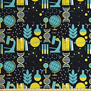 Ambesonne Education Fabric by The Yard, Science Class Themed Biology Chemistry and Physics Protons Neutrons, Decorative Fabric for Upholstery and Home Accents, 1 Yard, Turquoise Yellow