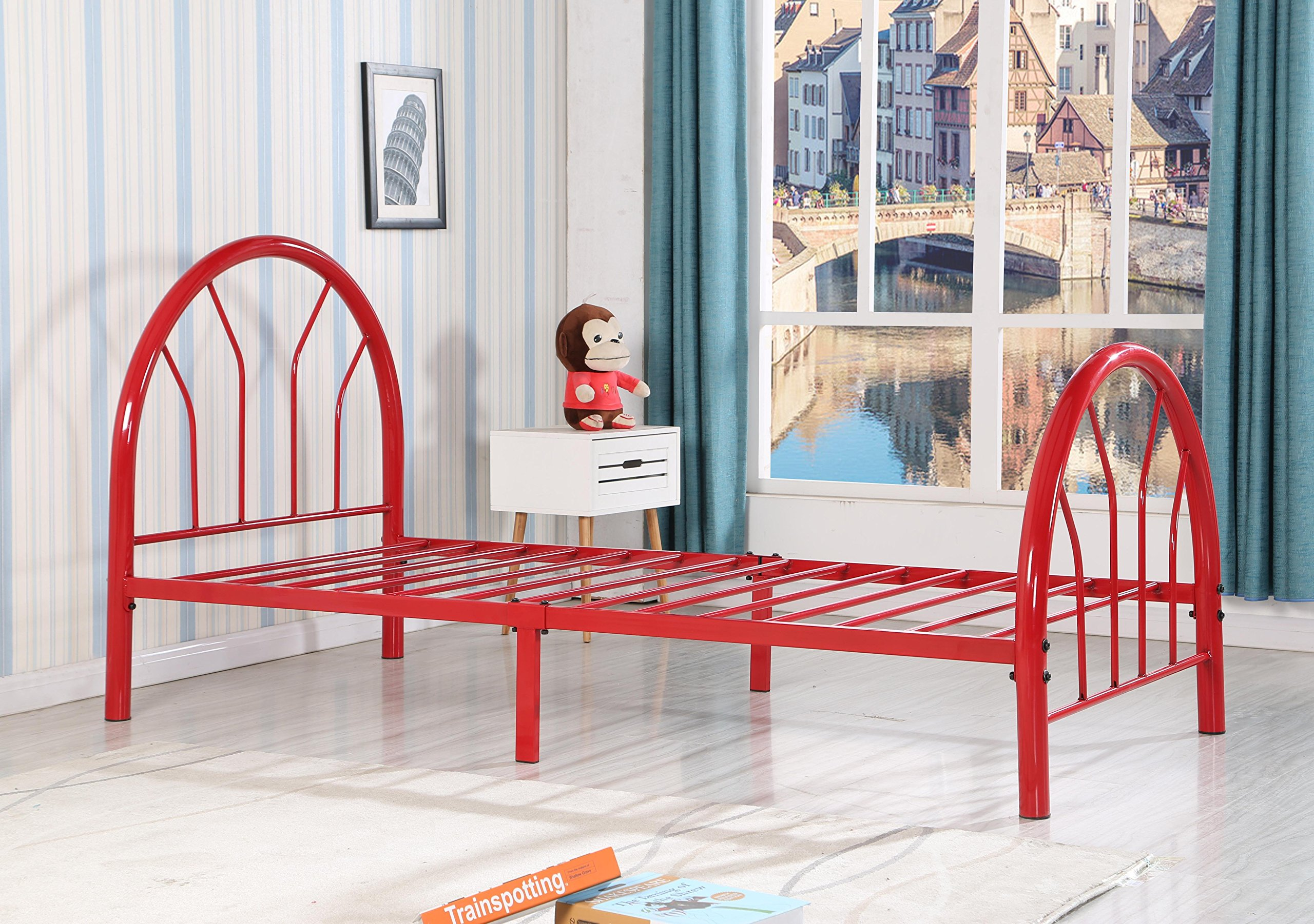 Roundhill Furniture Belledica Metal Bed Set with Headboard, Red, Twin