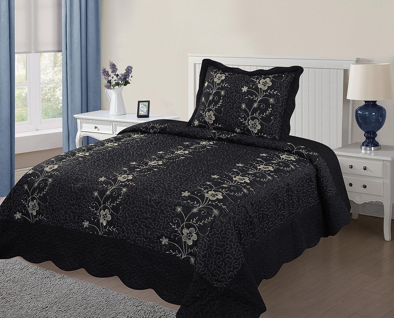 Fancy Linen Embossed Oversized Coverlet Bedspread Set Ivory All Sizes New