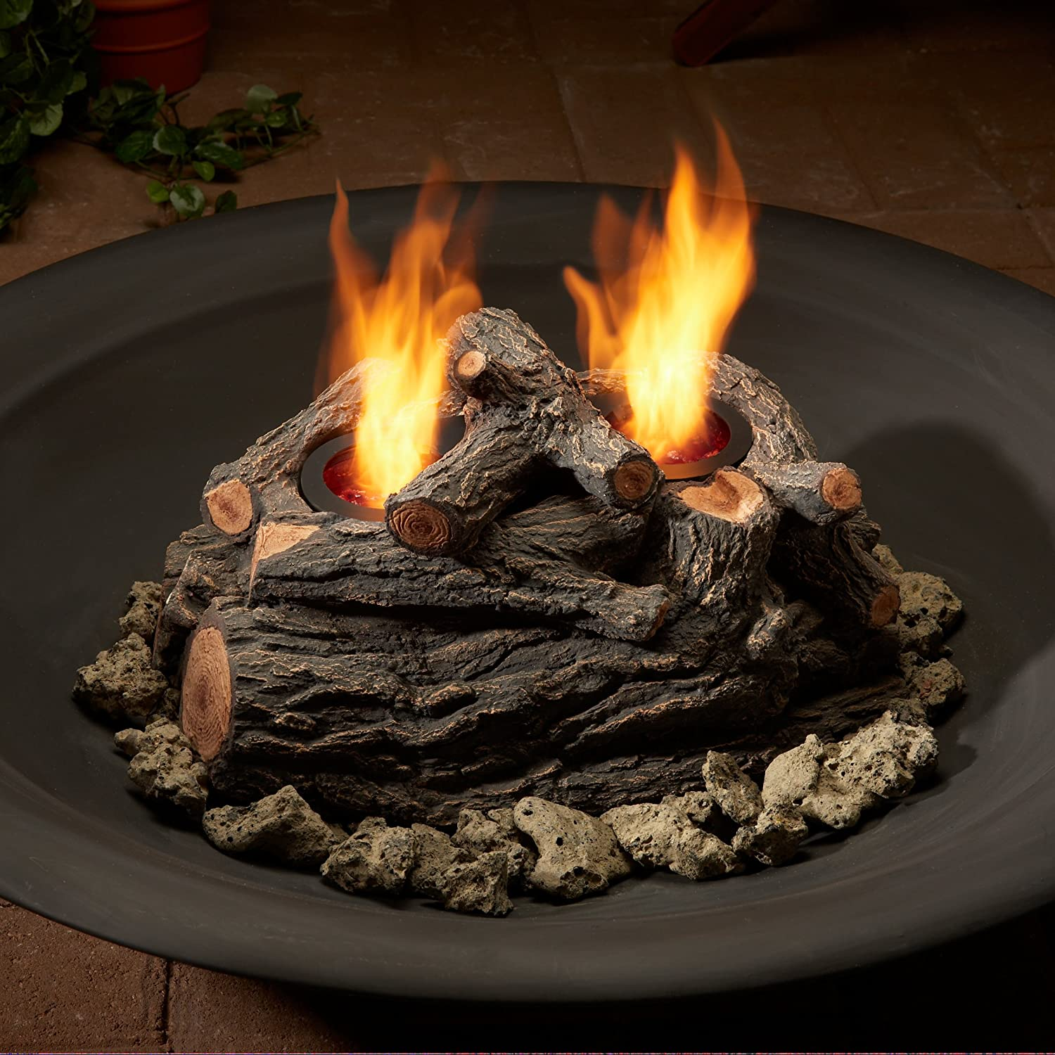 amazon com real flame 4 can outdoor log set outdoor fireplaces