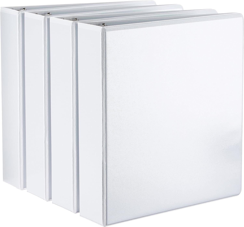 AmazonBasics Binder - 2 Inch D-Ring, White, 4-Pack