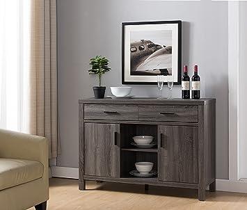 Modern Buffet Fine Dining Serving Table Stand Furniture  Distress Gray. Amazon com   Modern Buffet Fine Dining Serving Table Stand