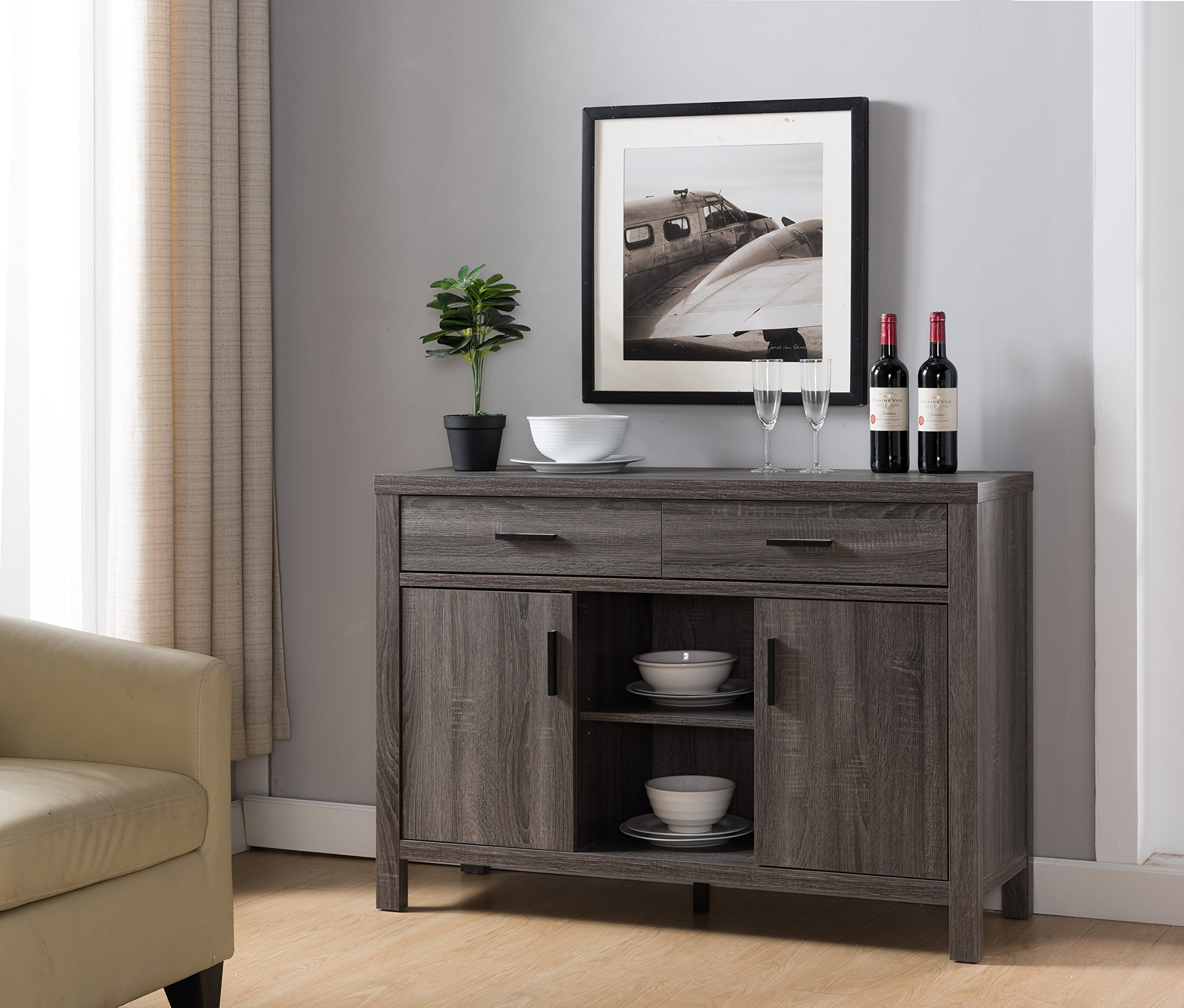 Modern Buffet Fine Dining Serving Table Stand Furniture (Distress Gray)