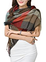 Wander Agio Womens Warm Long Shawl Wraps Large Scarves Knit Cashmere Feel Plaid Scarf