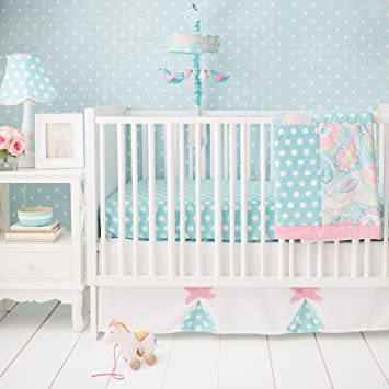 My Baby Sam Pixie 3 Piece Crib Bedding Set Aqua And Pink