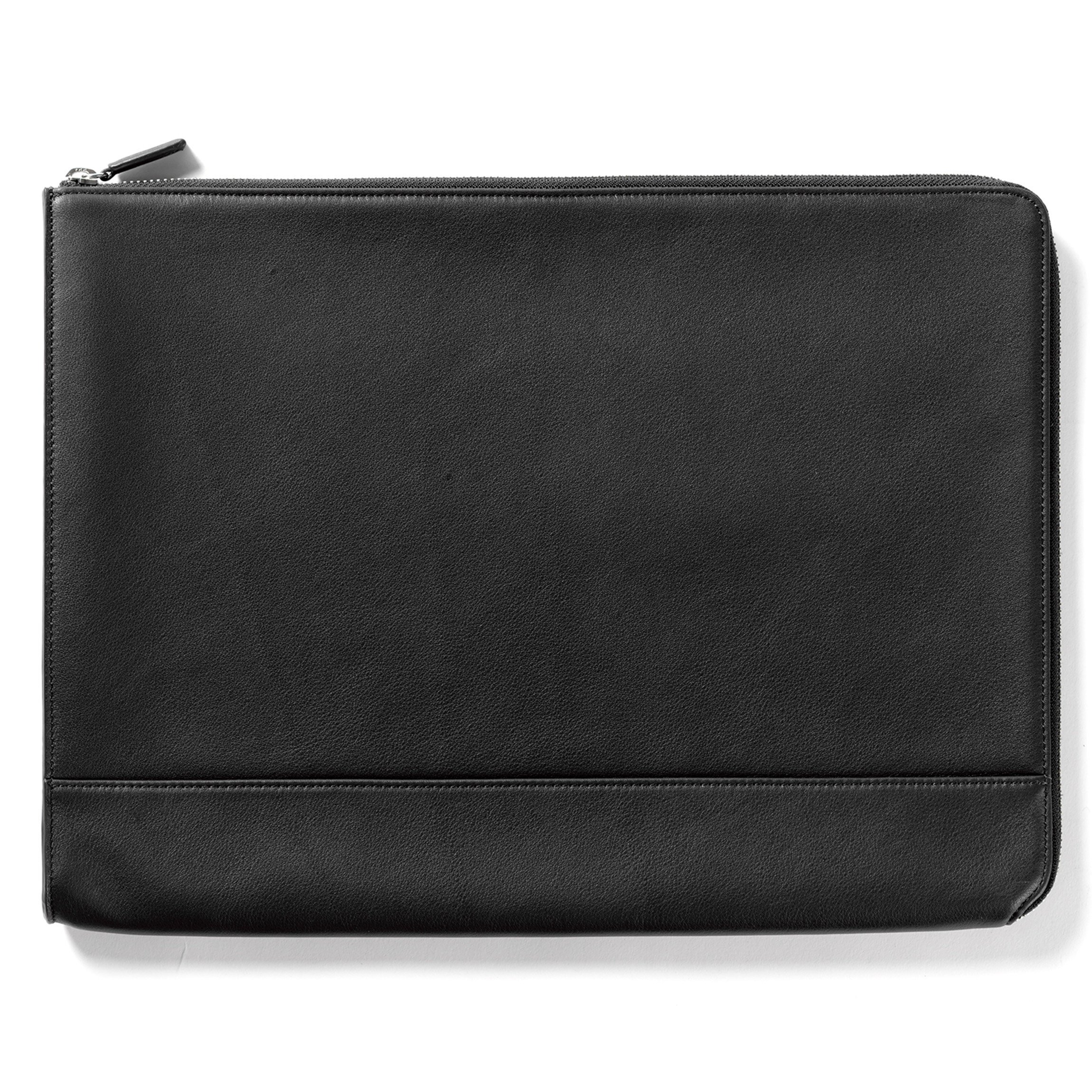 Leatherolgy Zippered Document Holder with Interior Pocket for Tablet - Full Grain Leather - Black Onyx (black)
