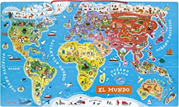 Janod - Puzzle magnético Mapa del Mundo en madera- 92 piezas ...