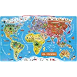 Janod - Puzzle magnético del mundo, versión en español (J05503)