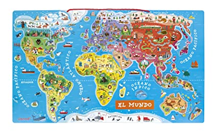 Amazon.com: Janod Spanish Version Magnetic World Map: Toys & Games