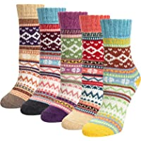 Justay 5 paar merinosokken voor dames, wollen wandelsokken, warme dikke knuffelsokken, thermosokken, ademende…