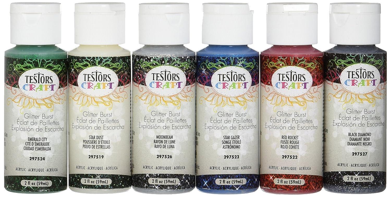Testor 297588 Glitter Burst Paint Set, 2-oz. Each, 6-Pk. Testors