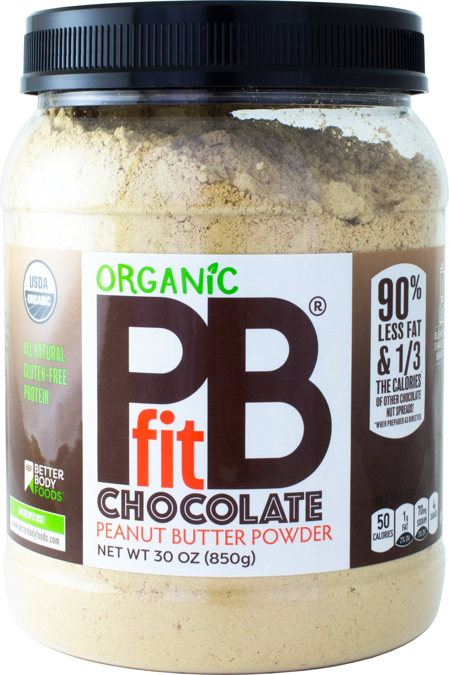 Organic Chocolate PBfit - All-Natural Chocolate Peanut Butter Powder, Organic Peanut Butter, Produced by BetterBody Foods - 30 oz by PBfit