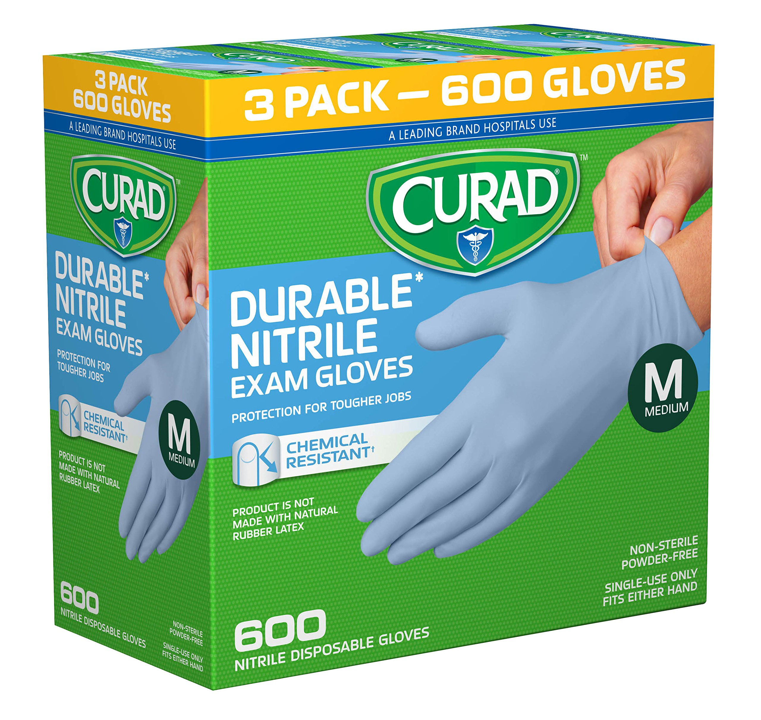 CURAD Disposable Nitrile Exam Gloves, Medium, Blue, (600 Count)