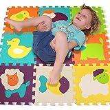 Puzzle Spielmatte – Verzahnte Puzzle Quadrate fördern die visuelle-sensorische Entwicklung – Sanfte Baby-Bodenmatte – 9 Quadrate mit lebendigen Tierbildern, um die Aufmerksamkeit des Kindes anzuziehen – Schaumstoff Bodenquadrate – EVA-Matte – Nicht giftig
