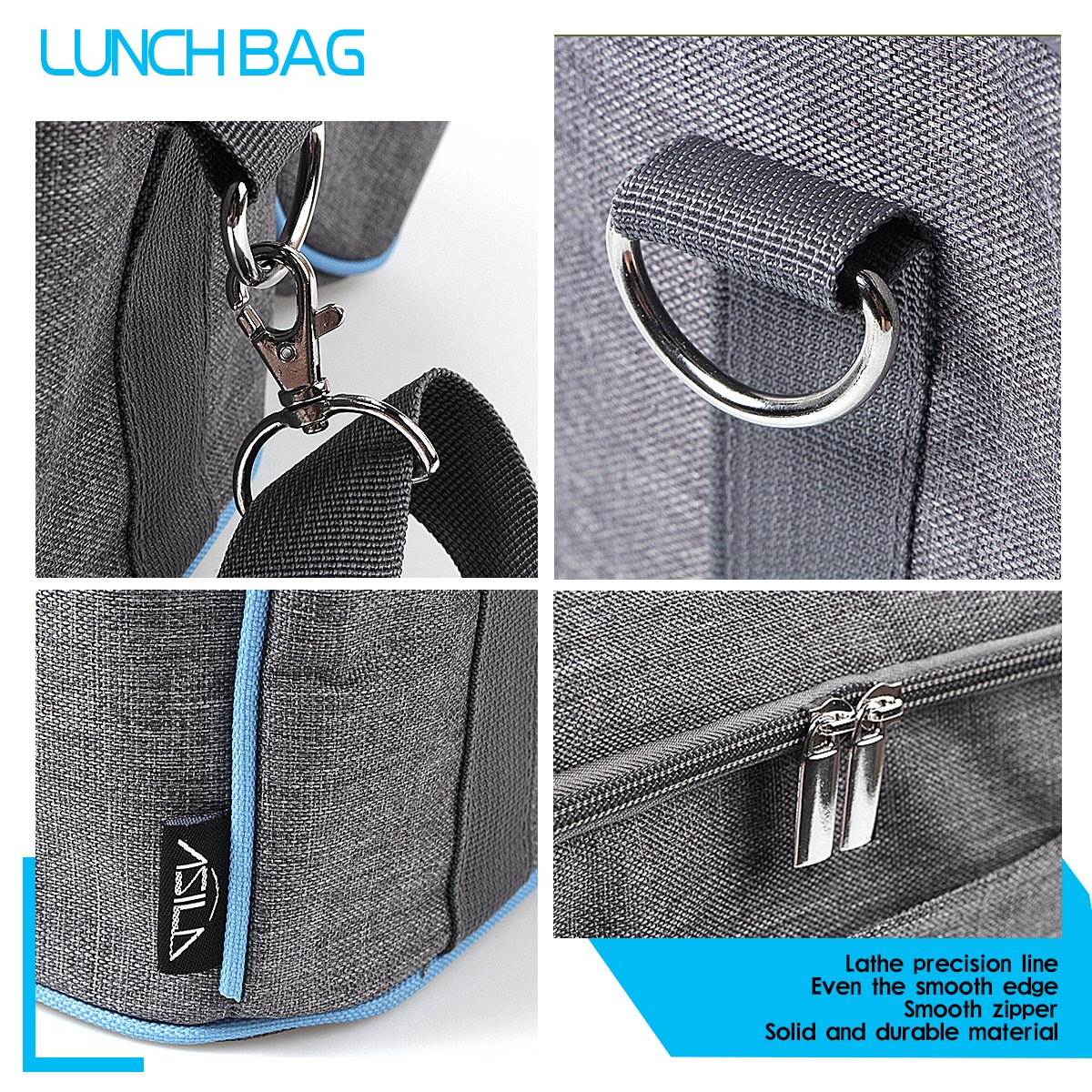 Insulated Lunch Box/Lunch Tote Cooler Bag for Women, Adults, Kids, Girls and Boys with Shoulder Strap Zip Closure