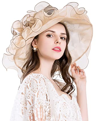 f86ac1e3 Derby Hats For Womens Vacation Organza Fascinator British Tea Party Wedding  Dress Cap Mysterious UPF 50