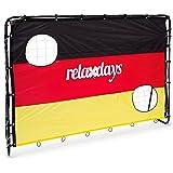 Relaxdays Fußballtor mit Torwand Deutschland, HxBxT: 150 x 210 x 75 cm, 2 Schusslöcher, aus Metall, schwarz-rot-gold