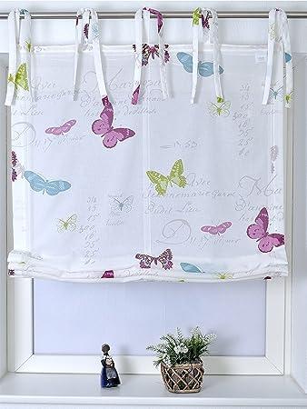 Amazon.de: Raffrollo mit Bindebändern Roma Butterfly BiBa 100X140 cm
