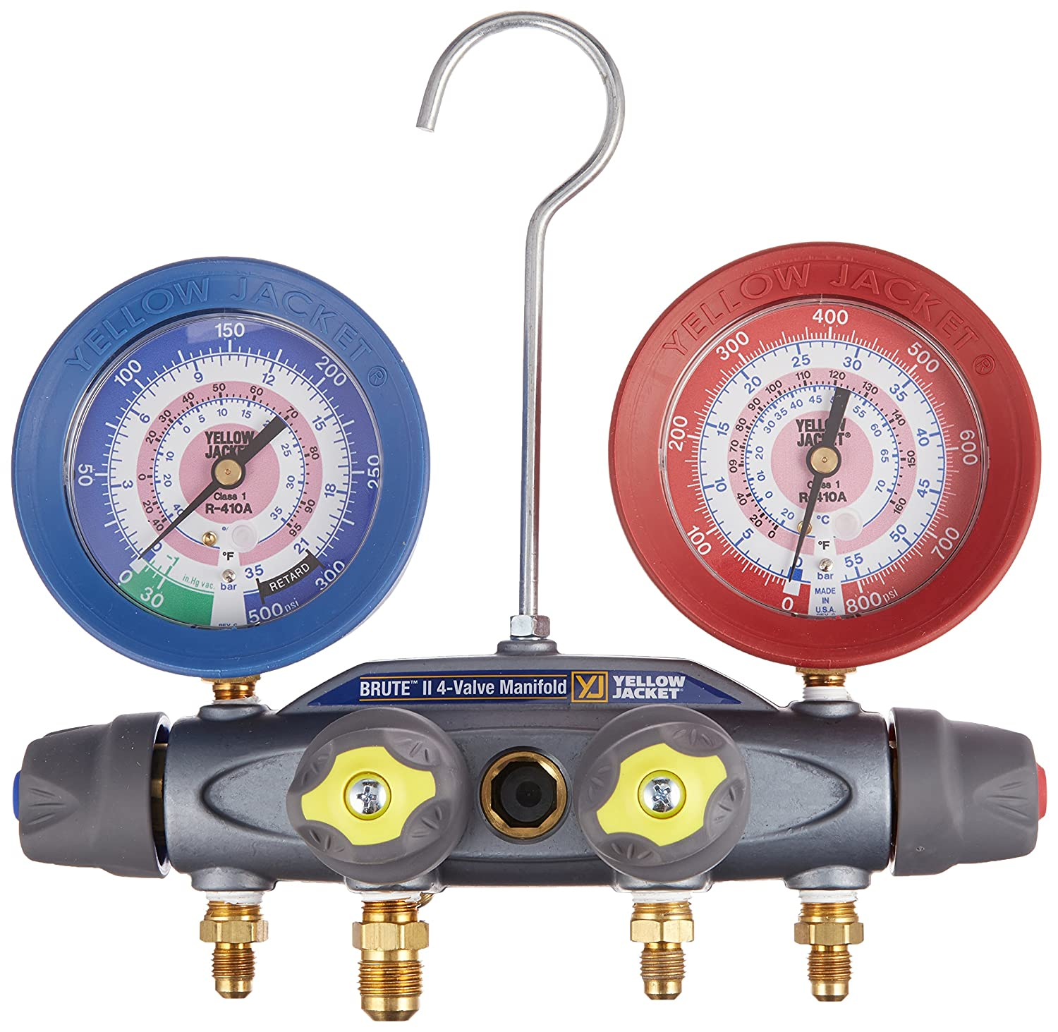 Yellow Jacket 46000 Brute II 4-Valve Manifold with Gauges, bar/psi, R-410A, Red/Blue Fotronic Corporation