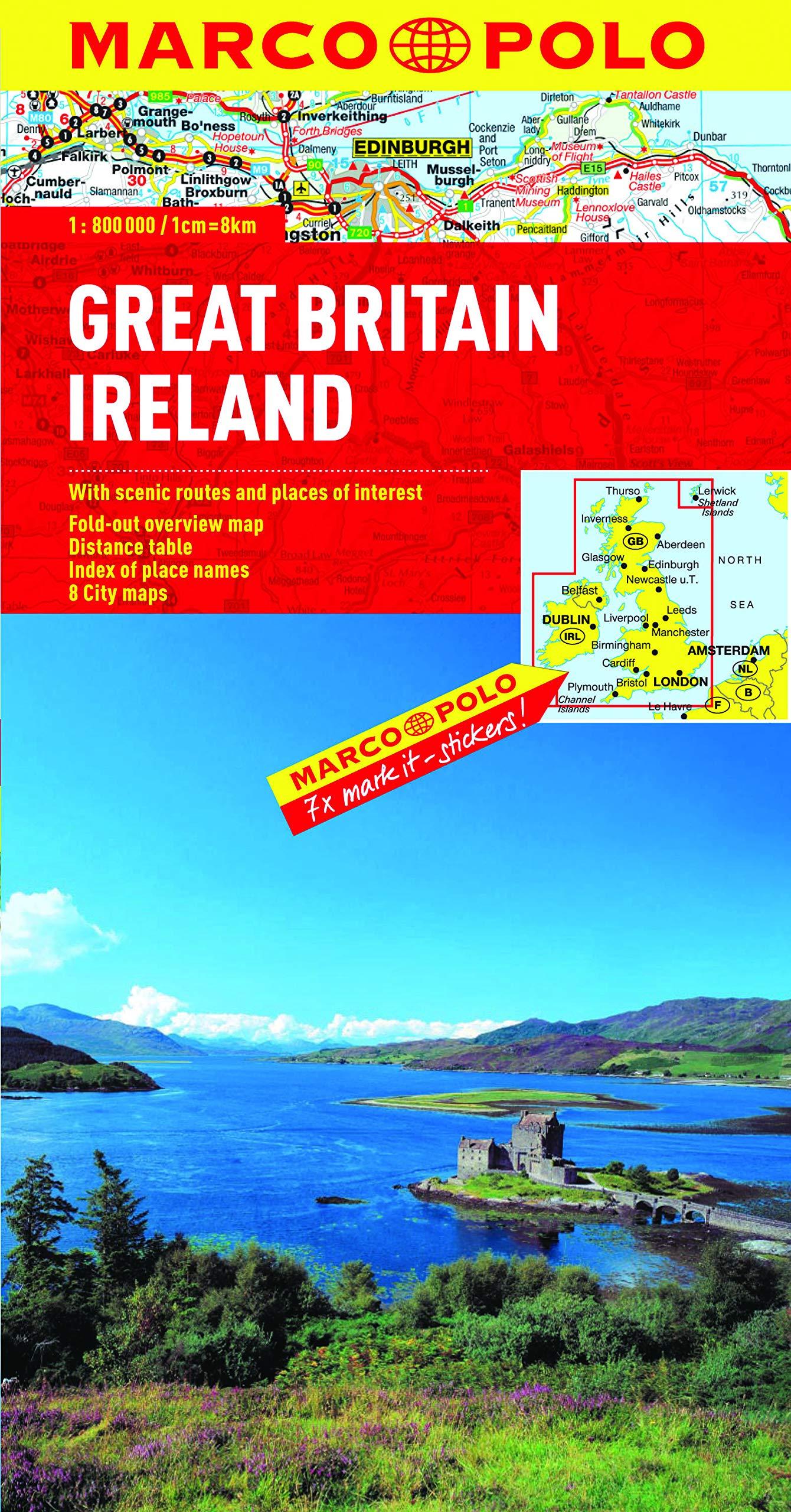Great Britain & Ireland Map Marco Polo Maps Idioma Inglés: Amazon ...