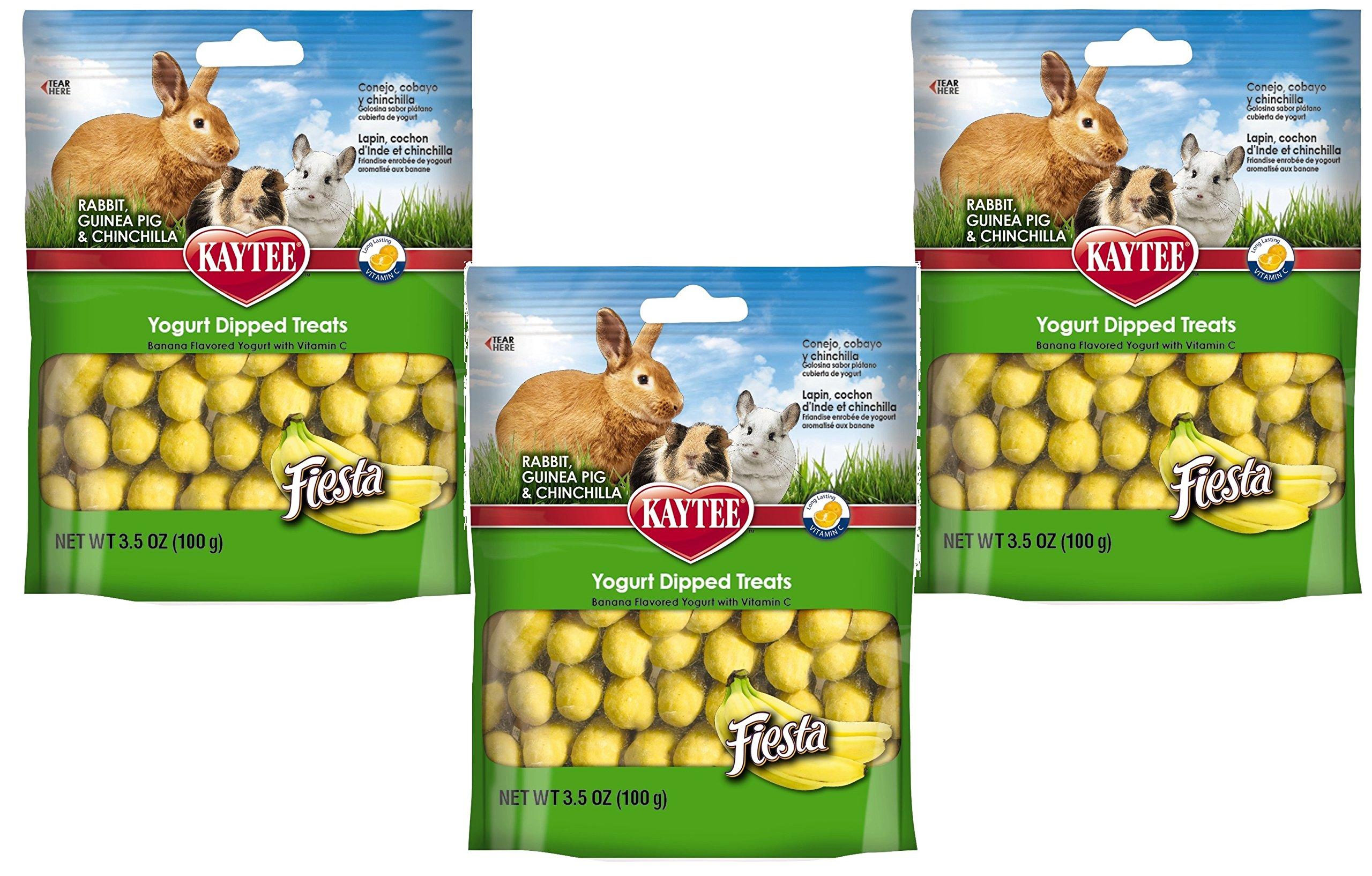 (3 Pack) Kaytee Fiesta Yogurt Dipped Small Animal Treat, 3.5-Ounce, Banana Flavor