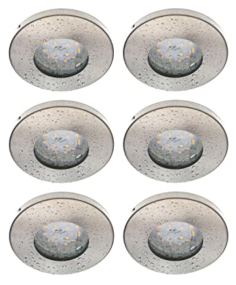 Trango 6er Set IP44 LED Einbaustrahler Einbauleuchten TG6729IP-062B  Badleuchte Deckenspots Deckenstrahler in Nickel matt für Bad Dusche Sauna  inkl. ...
