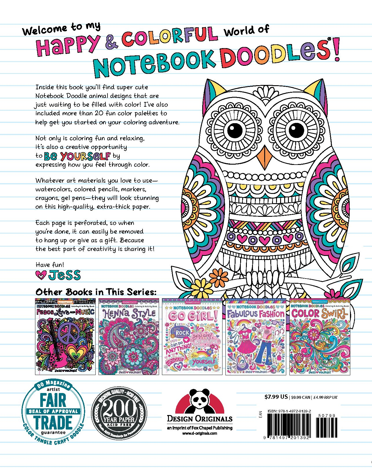 Notebook Doodles Super Cute Coloring Activity Book Jess Volinski 9781497201392 Books